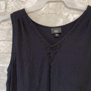Massimo black gauze & lace tank top shirt